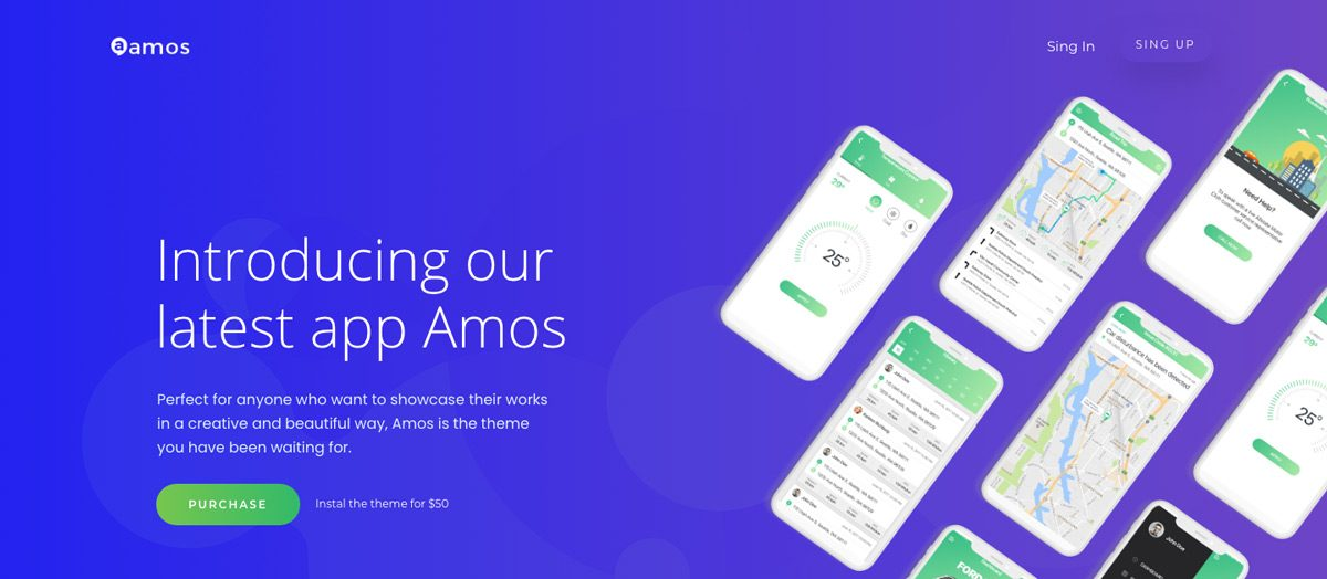 Amos App Demo WordPress Theme