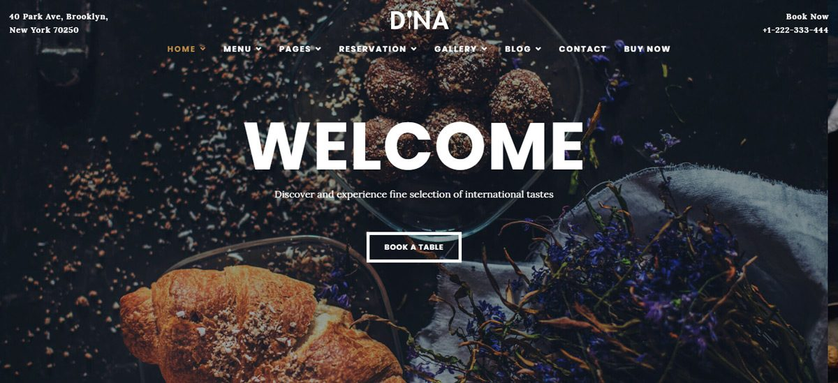 Dina - Restaurant, Bar, Cafe WordPress Theme