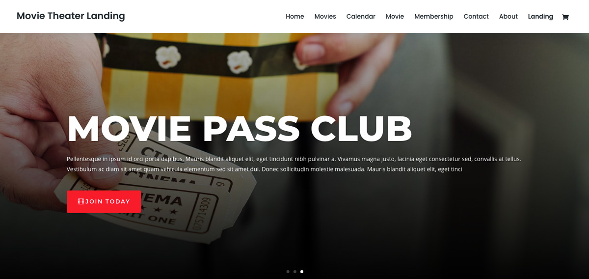 Movie Theater Divi Theme